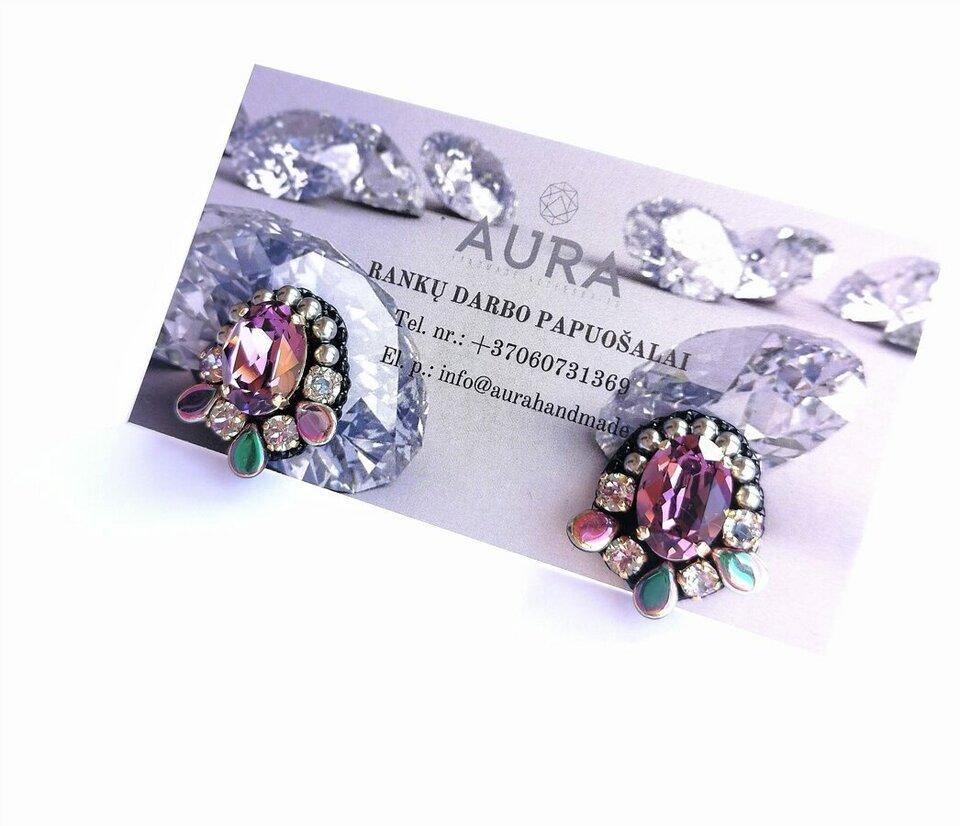 Auskarai su swarovski kristalais bei perlais